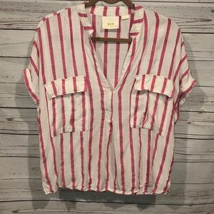 Anthro Maeve pink striped blouse large